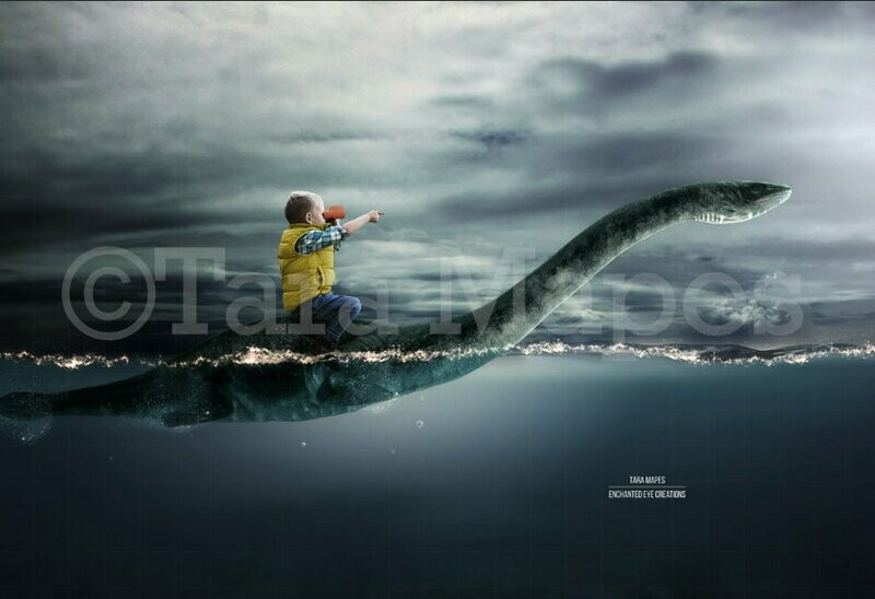 Swimming Dinosaur Stormy Ocean Digital Background Backdrop