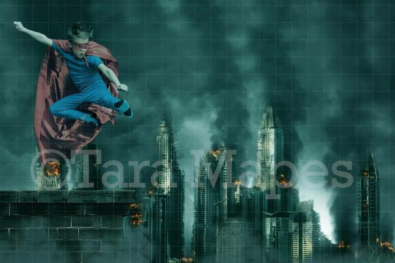 Superhero roof scene - Roof Over Burning City Digital Background