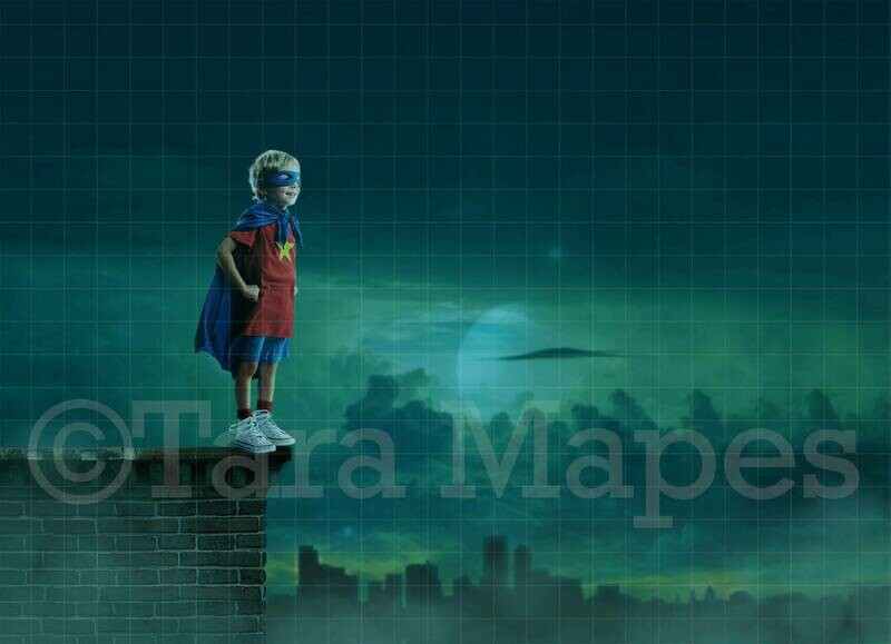Super Hero Roof Scene - Superhero Scene City at Night Digital Background