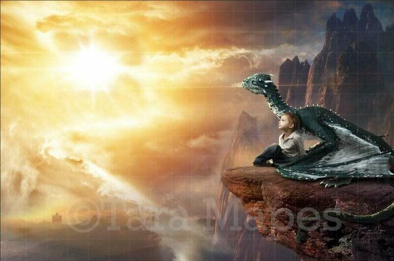 Dragon on a Cliff Digital Background / Backdrop