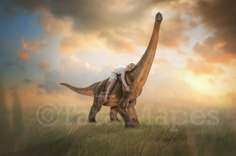Dinosaur in Creamy Sunny Field- Nice Dinosaur in Soft Pastel Scene- Digital Background Backdrop