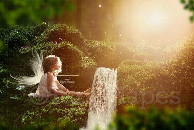 Fairy in Forest by Waterfall Digital Background / Backdrop