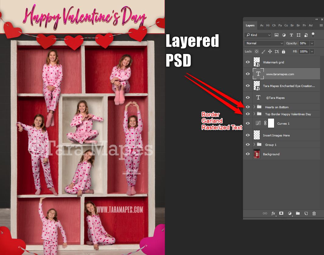 Valentine in a Box Digital Background -  Valentines Day - Layered PSD Digital Background