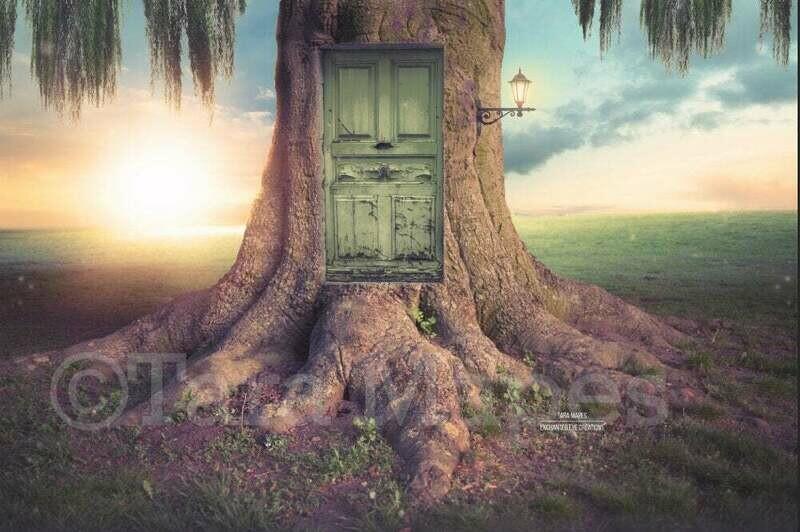 Fairy Tree with Door - Creamy Nature - Digital Background / Backdrop