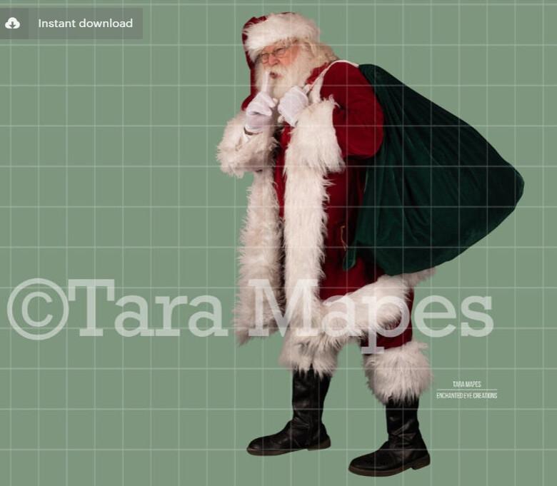 Santa Overlay PNG - Santa Shhh- Santa Cut Out  - Christmas Overlay - Santa PNG - Christmas Overlay