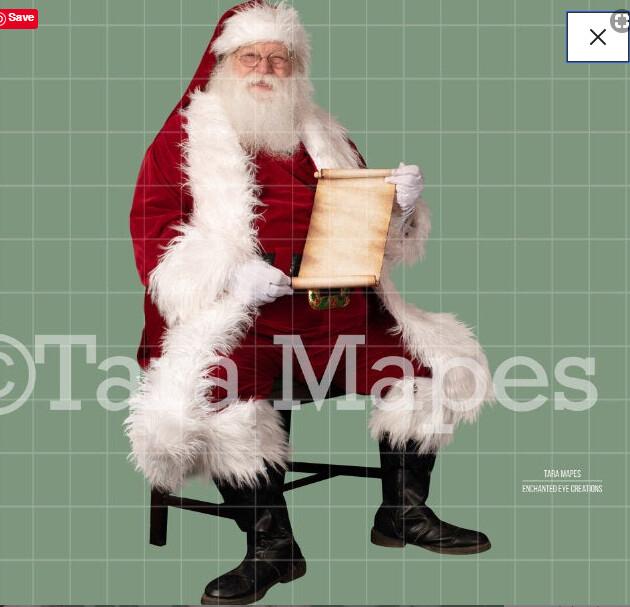 Santa Scroll Overlay PNG - Santa Overlay - Santa Clip Art - Santa Cut Out  - Christmas Overlay - Santa PNG - Christmas Overlay