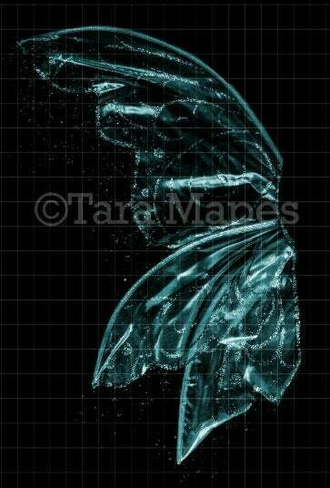 Teal Turquoise Blue Green Glitter Fairy Wing Overlay - Glittery Fairy Wing Overlay - Fairy Digital Wings - Sparkles Fairy Wing