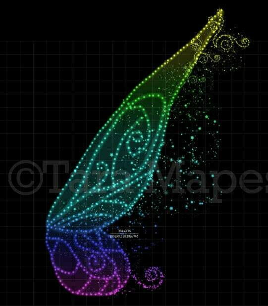 Rainbow Fairy Wing Overlay - Fairy Digital Wings - Glitter Sparkly Fairy Wing