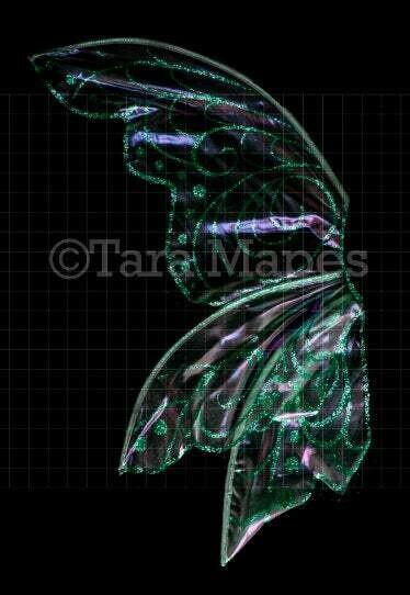 Iridescent Teal Fairy Wing Overlay - Rainbow Glittery Fairy Wing Overlay - Fairy Digital Wings - Sparkles Fairy Wing