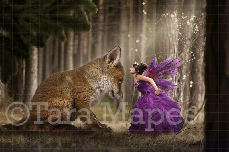 Fox in Magic Fairy Forest Digital Background