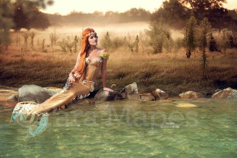 Freshwater Mermaid Scene - Lake Shore Rock in Lake at Sunset Creamy Foggy Digital Background / Backdrop