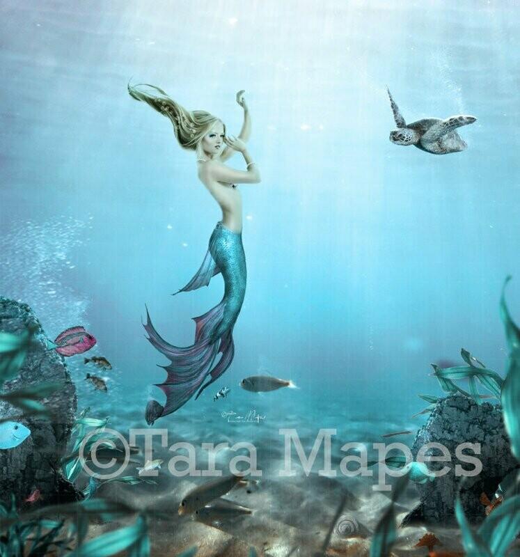 Mermaid Underwater - Mermaid with Turtle - Mermaid in Ocean Digital Background / Backdrop