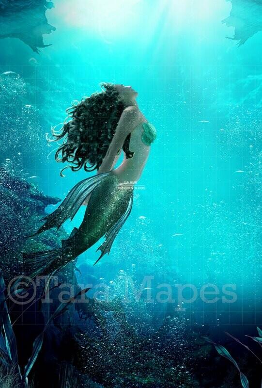 Mermaid Underwater Scene, Under Ocean, Ocean Background, Ocean Digital Background Backdrop
