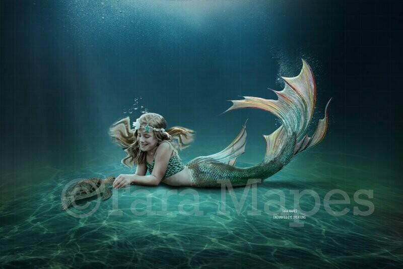 Mermaid Underwater  Scene - Mermaid Tail on Ocean Floor-  Digital Background Backdrop