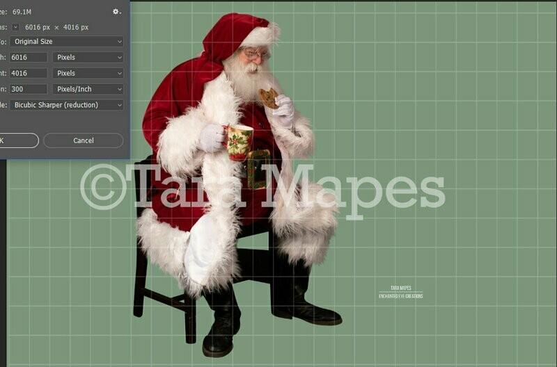 Santa Overlay PNG - Santa with Cookie - Santa with Cocoa- Santa Clipart - Santa Cut Out  - Christmas Overlay - Santa PNG - Christmas Overlay