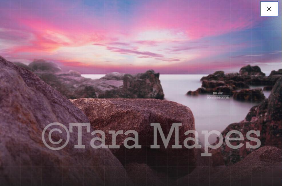 Rock by Ocean at Sunset Pink Sky Digital Background Backdrop