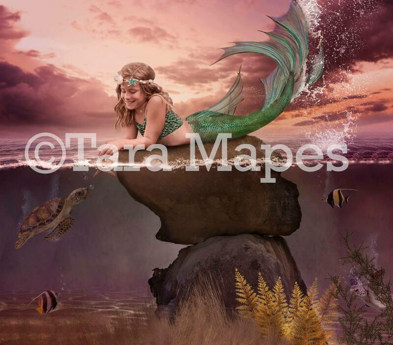 Mermaid Rock Digital Background