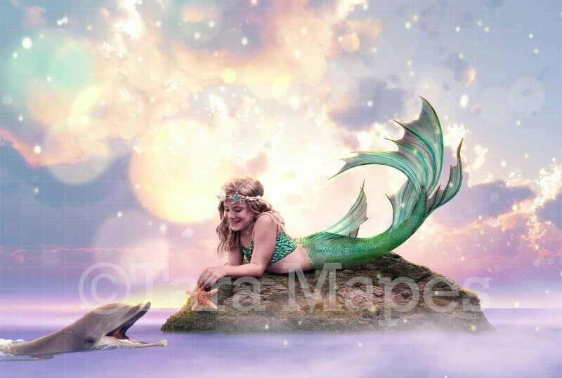 Mermaid Rock and Dolphin Digital Background