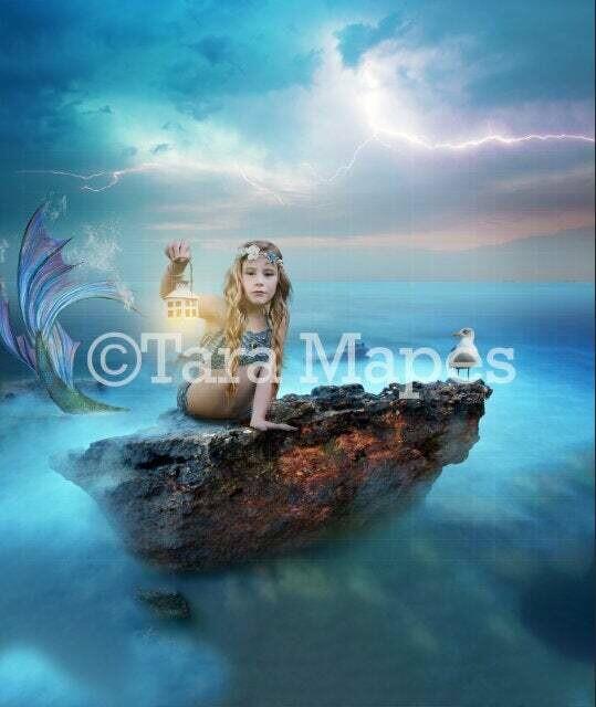 Mermaid in Blue Ocean Digital Background / Backdrop