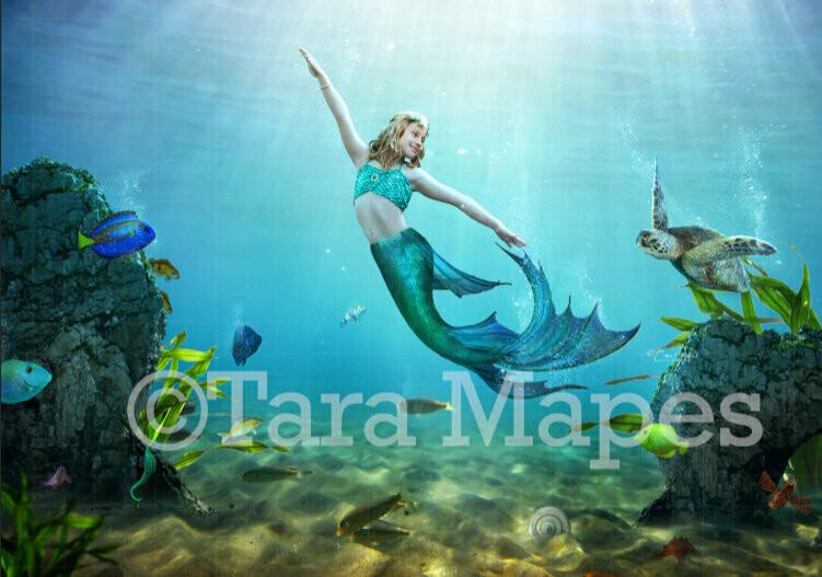 Mermaid Underwater Digital Background / Backdrop