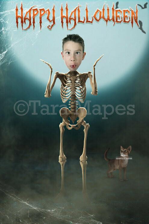 Funny Halloween Background - Skeleton Body Backdrop - Spooky Fun Halloween Digital Background Backdrop