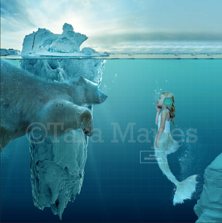 "Polar Bear and ""Brrrrr""maid Mermaid  (Polar Mermaid) Digital Background / Backdrop"