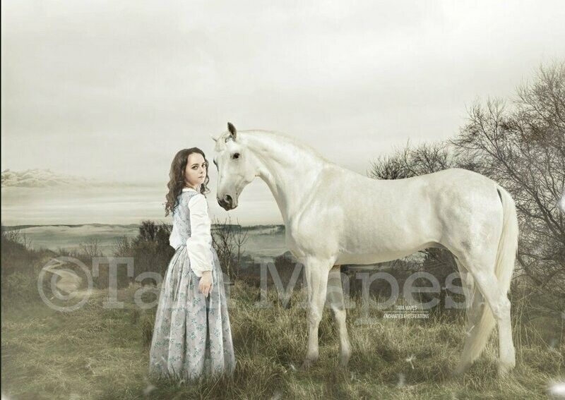 Horse Vintage Painting Appearance - Painterly Look - Unicorn without the Horn -  Digital Background Backdrop