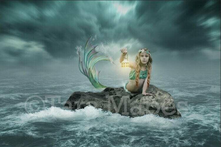 Stormy Ocean Mermaid Rock - Rock in Stormy Ocean Digital Background