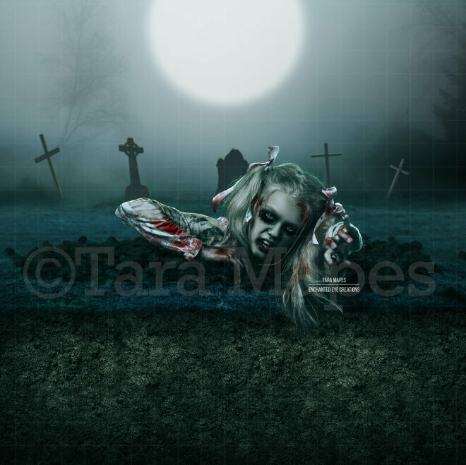 Grave Walker - Graves -  Cemetary - Halloween - Forest Graveyard - Grave Dirt Partition - Digital Background Backdrop
