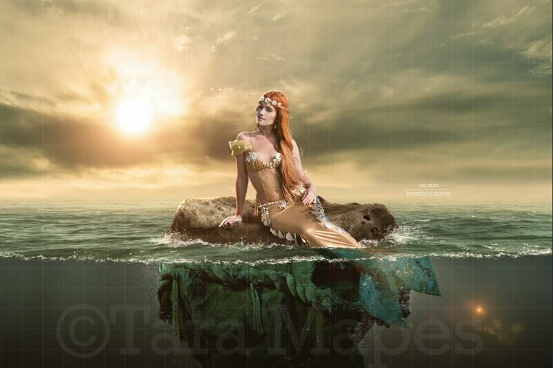 Mermaid Rock in Ocean at Sunset Digital Background / Backdrop