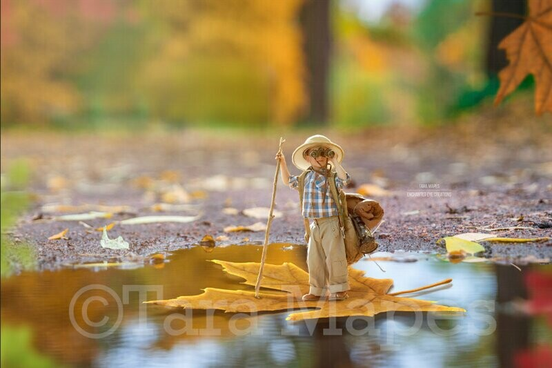 Leaf Boat in Forest in Autumn Digital Background Backdrop