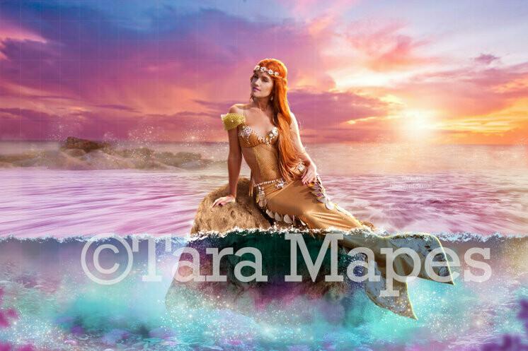 Mermaid Rock in Rainbow Ocean Digital Background / Backdrop