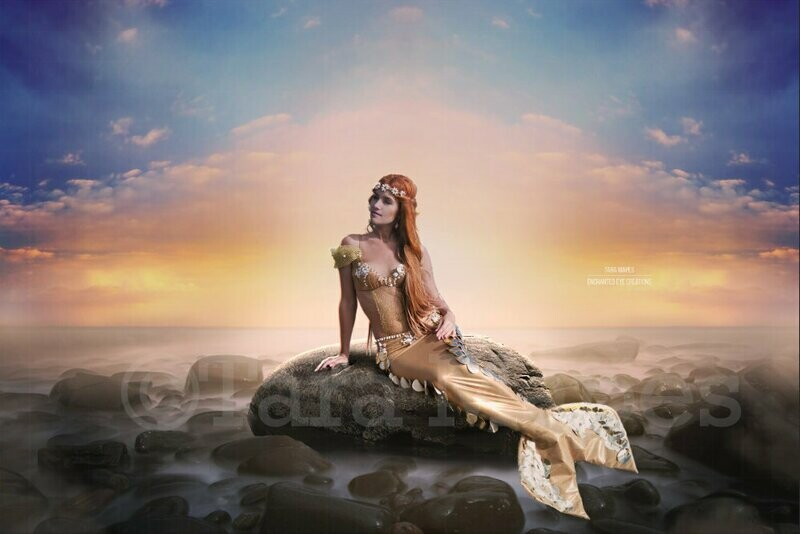 Mermaid Rock at Pastel Sunset Digital Background Backdrop
