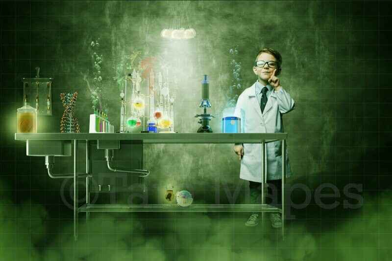 Mad Scientist Science Lab - LAYERED PSD - Chemistry Lab - Digital Background Backdrop