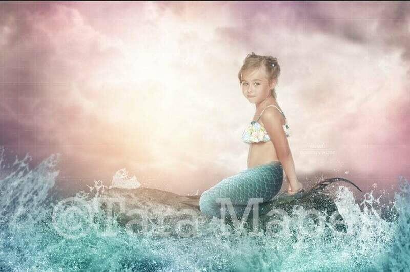 Pastel Beach Scene with Rock in Ocean - Mermaid Tail on Rock Sunset Digital Background Backdrop