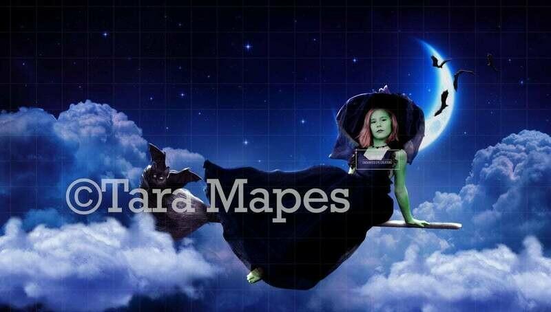 Witch Broom -  Halloween Moon - Broom in Sky Halloween Digital Background / Backdrop