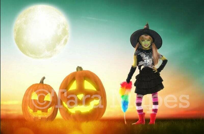 Jack o Lantern Sunset - Halloween Scene - Happy Halloween -  Smiling Pumpkins - Halloween Digital Background Backdrop