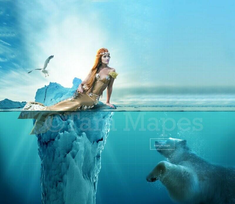 Mermaid Iceberg and Polar Bear Digital Background / Backdrop