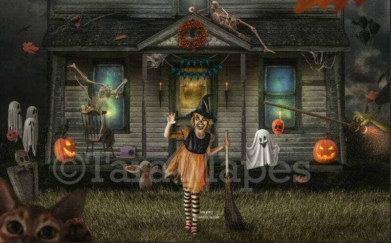 Halloween Haunted House - Trick or Treating - Fun Spooky - Kid Friendly - Digital Background / Backdrop