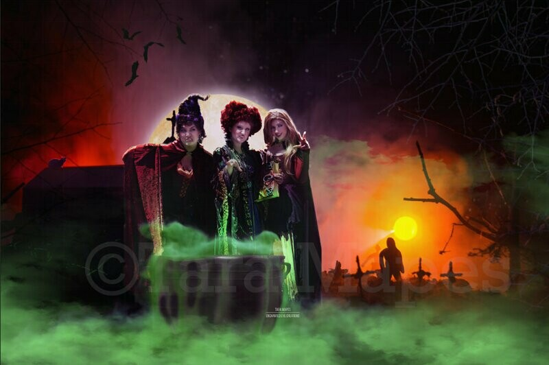 Halloween Witch Background Cauldron in Woods Digital Background / Backdrop