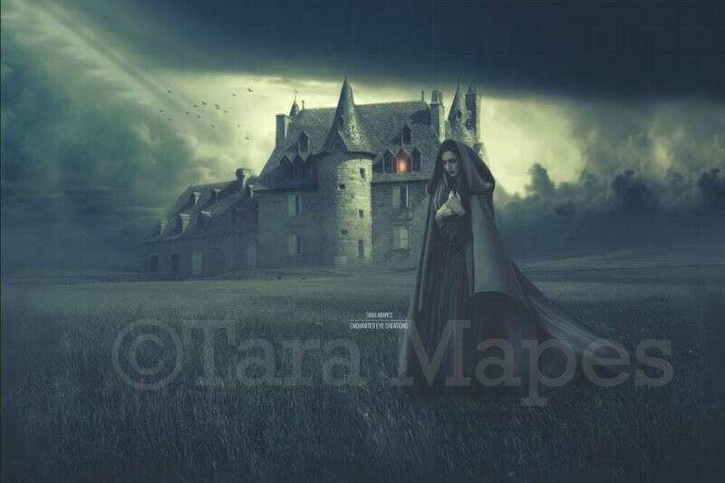 Haunted Castle in Foggy Field Halloween Witch Digital Background / Backdrop