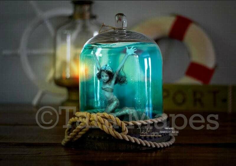 Mermaid Jar - Mermaid Trap - Nautical Ocean Jar Digital Background Backdrop