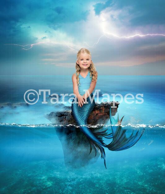 Rock in Blue Ocean for Mermaid or Fantasy Scene Digital Background / Backdrop