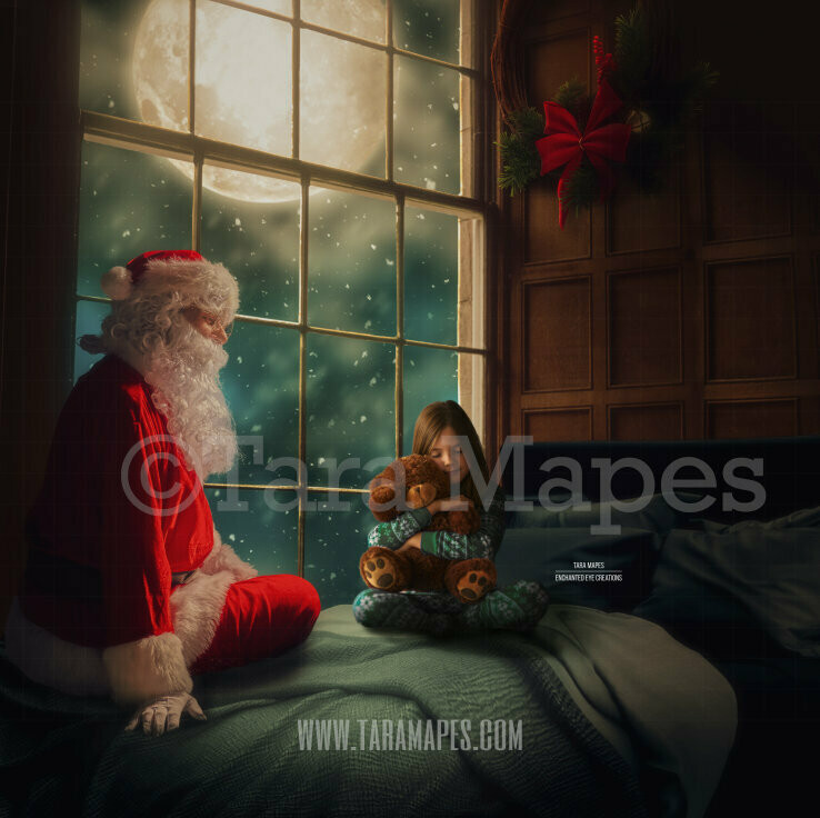 Santa on Bed by Big Christmas Window - Christmas Bed at Night with Father Christmas St Nick Digital Background Backdrop