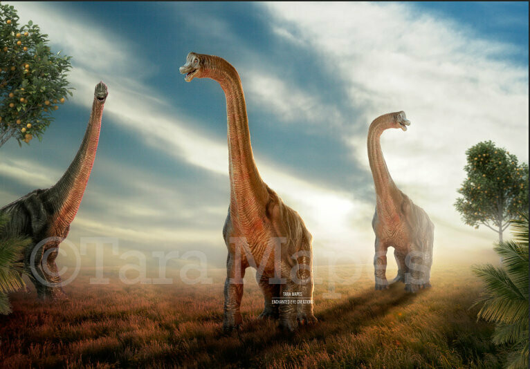 Smiling Dinosaurs in Sunny Field with Orange Trees - Funny Nice Dinosaurs  Digital Background Backdrop