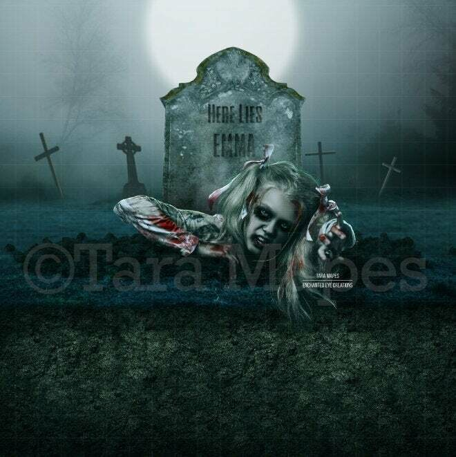 Grave Walker - Headstone - Cemetary - Halloween - Forest Graveyard - Grave Dirt Partition - Digital Background Backdrop