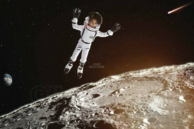 Outerspace Moon Astronaut Space Galaxy Digital Background