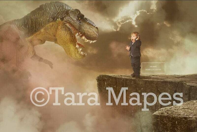 T-Rex Dinosaur on a Cliff Digital Background / Backdrop