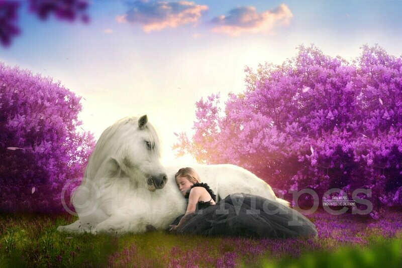 Unicorn Laying In Cherry Blossoms Purple Flowers with Sun Creamy Digital Background Backdrop