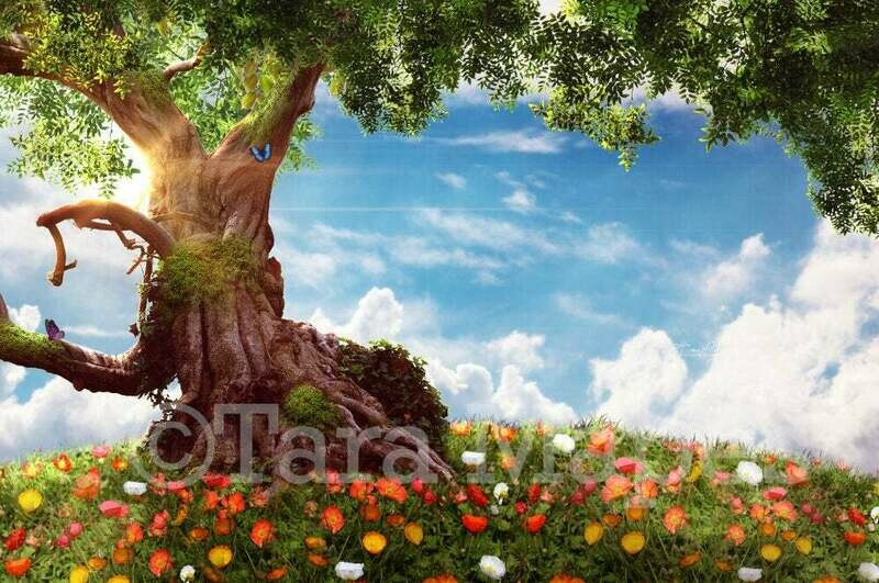 Tree on Flowering Hill Digital Background / Backdrop
